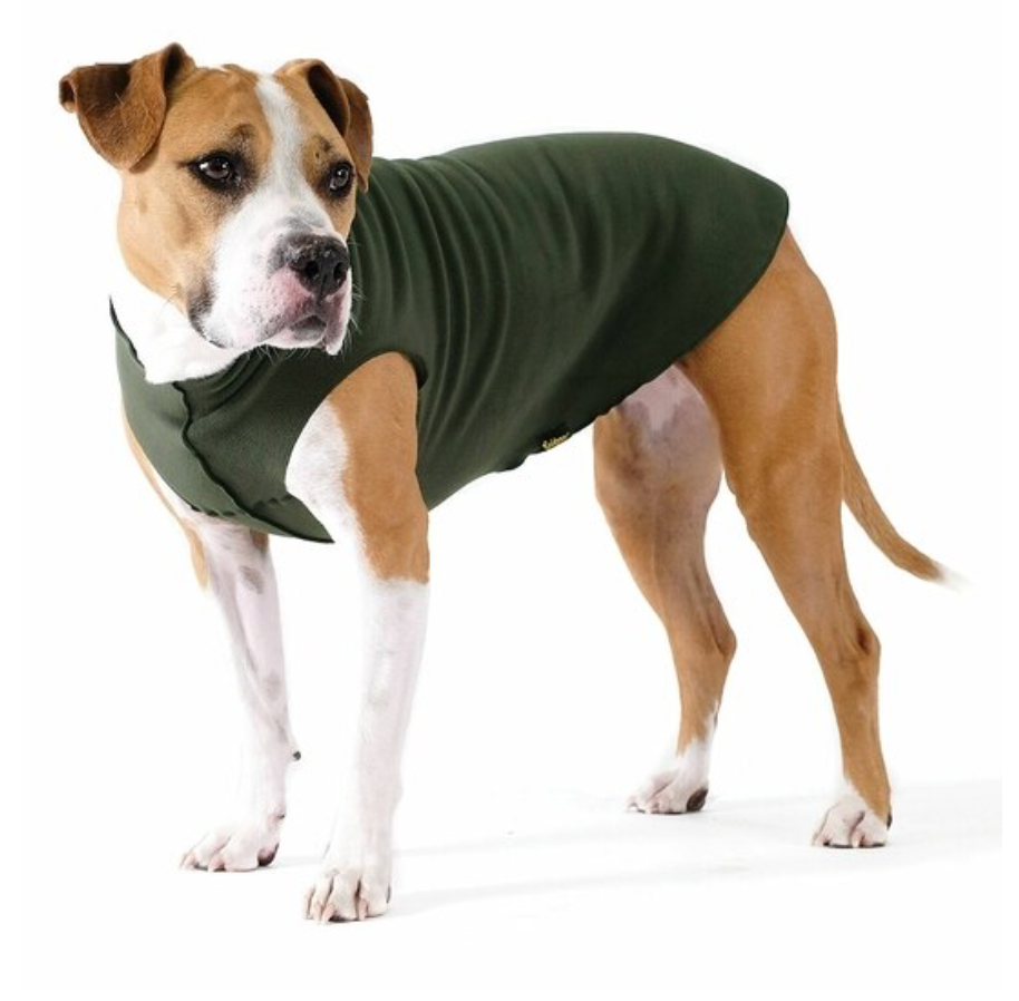 soft fleece dog muscle tee in hunter green