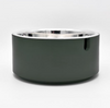 medium and large single modern usa made designer dog food bowl with green resin stand and stainless steel bowl