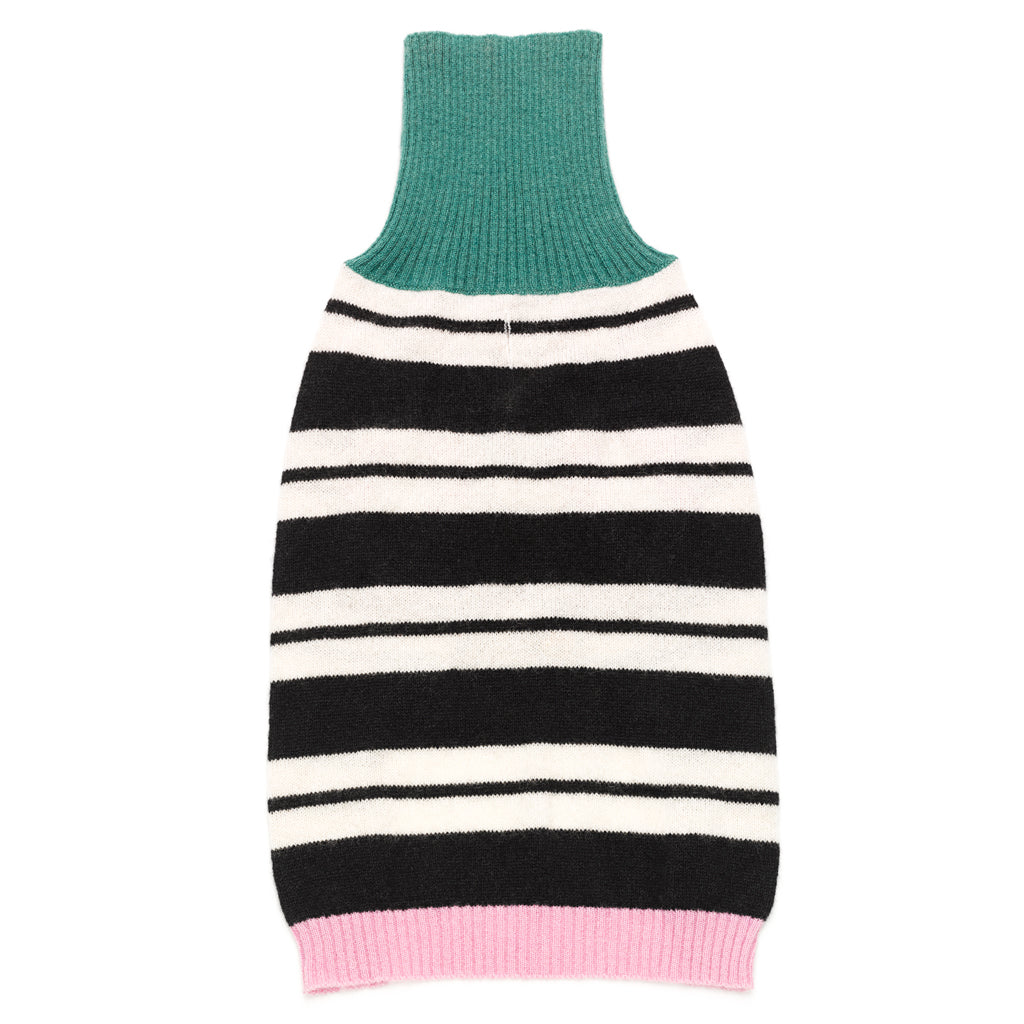 Cashmere Knit Sweater in Black Stripe