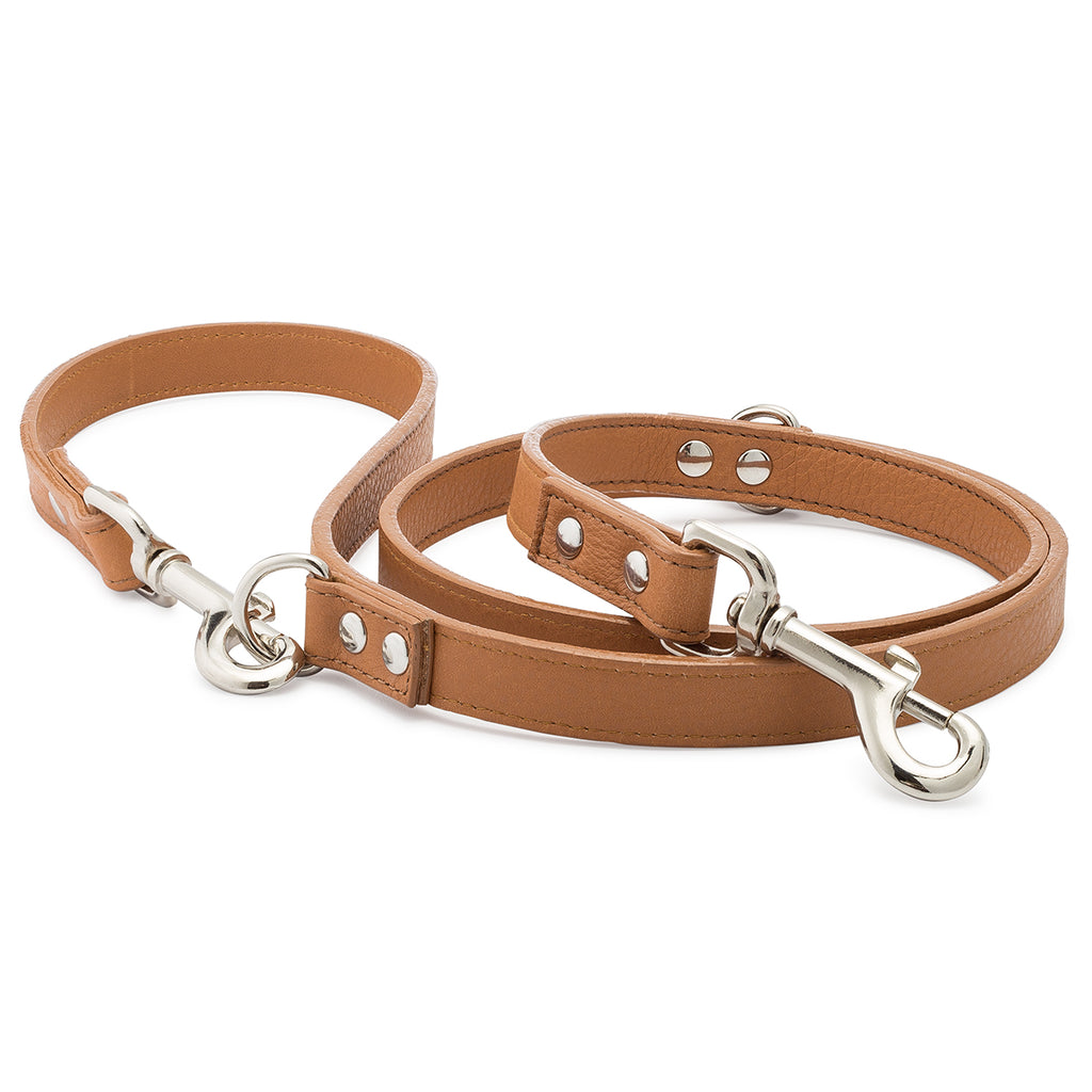 Caramel Pebble Leather Adjustable Leash