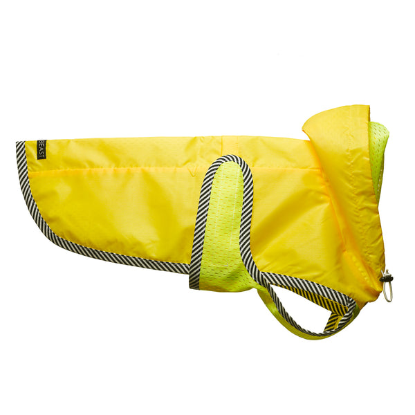 water proof nylon dog rain slicker in neon yellow with mesh lining and striped trim with hood and harness hole