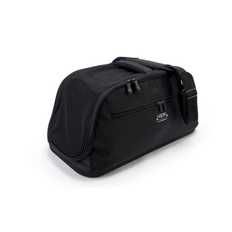 fully enclosed black nylon pet carrier with mesh top for safe car travel