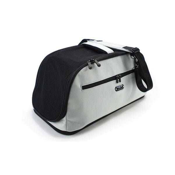 fully enclosed silver nylon pet carrier with removable pad for train travel