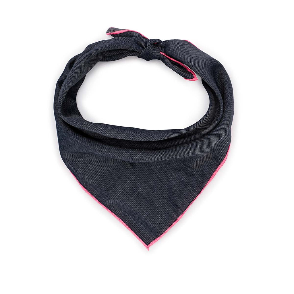 Dark Denim Bandana with Neon Pink