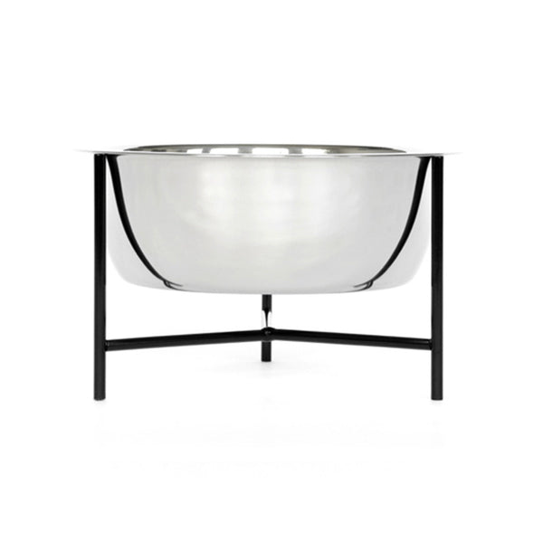 single modern designer pet food bowl stand in black with stainless steel bowl and rubber feet