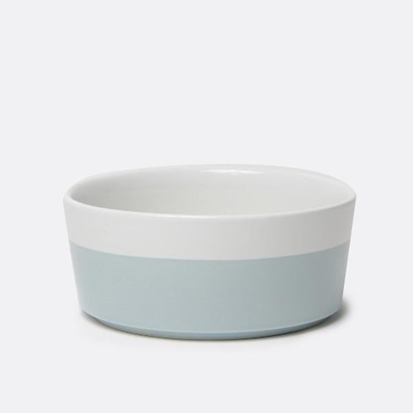 chic white durable ceramic dog bowl with light blue hand dipped bottom
