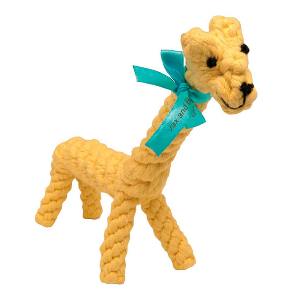 yellow giraffe all natural rope toy for tough chewers and puppies