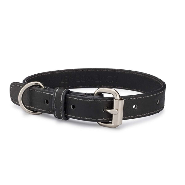Charcoal Pebble Leather Collar