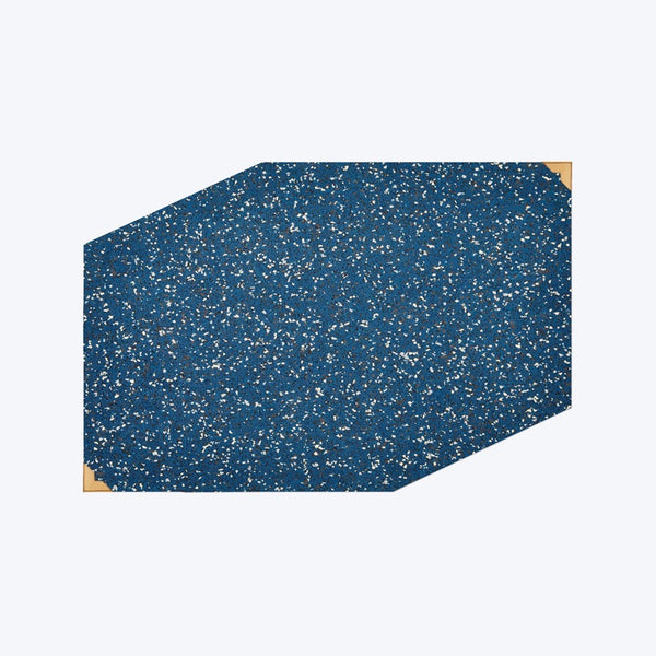modern designer blue speckled  rubber food mat with brass corner guards