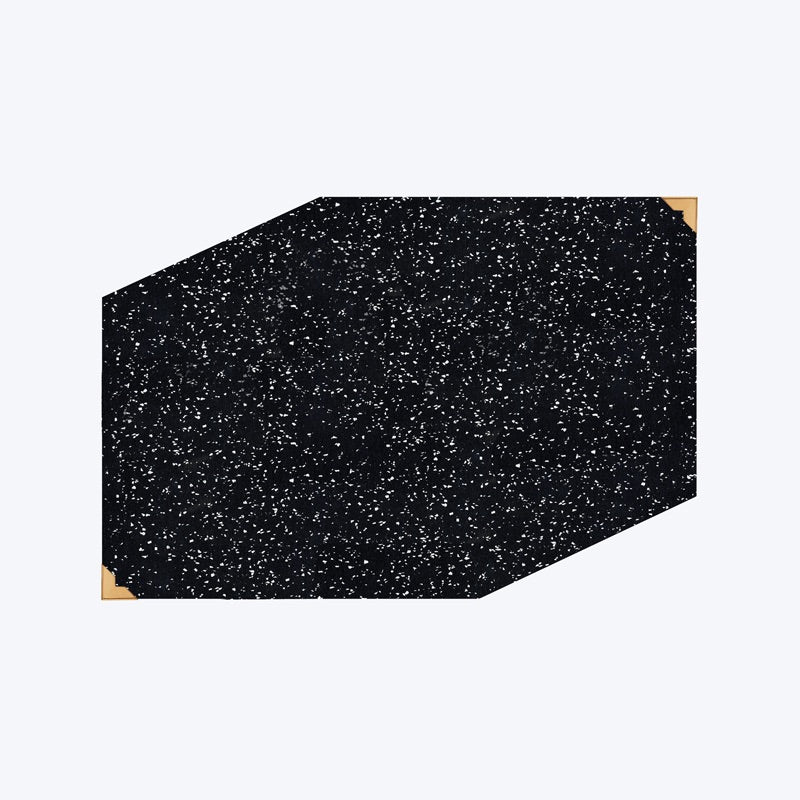 modern designer black speckled rubber dog bowl mat with brass detailing