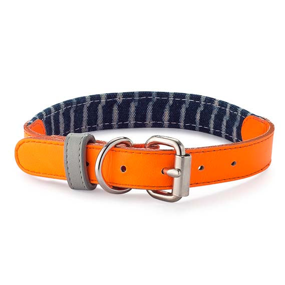 Orange Neon & Indigo Leather Collar
