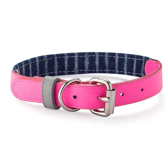 Pink Neon & Indigo Leather Collar