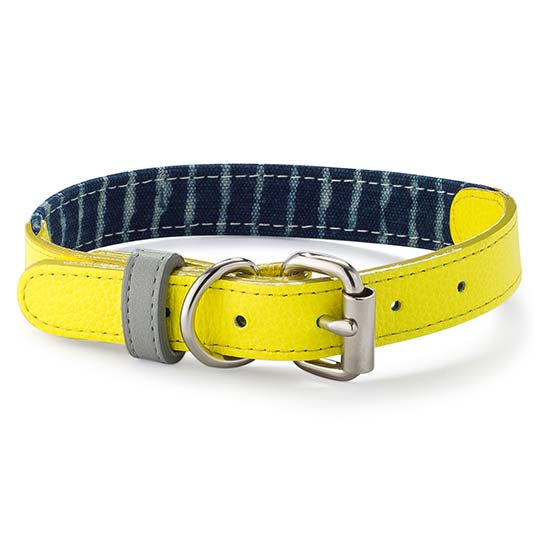 Yellow Neon & Indigo Leather Collar