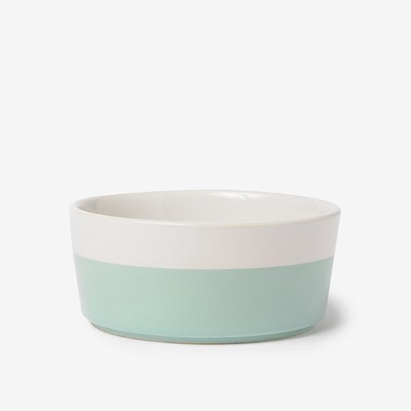 chic white ceramic durable dog bowl with mint green hand dipped bottom