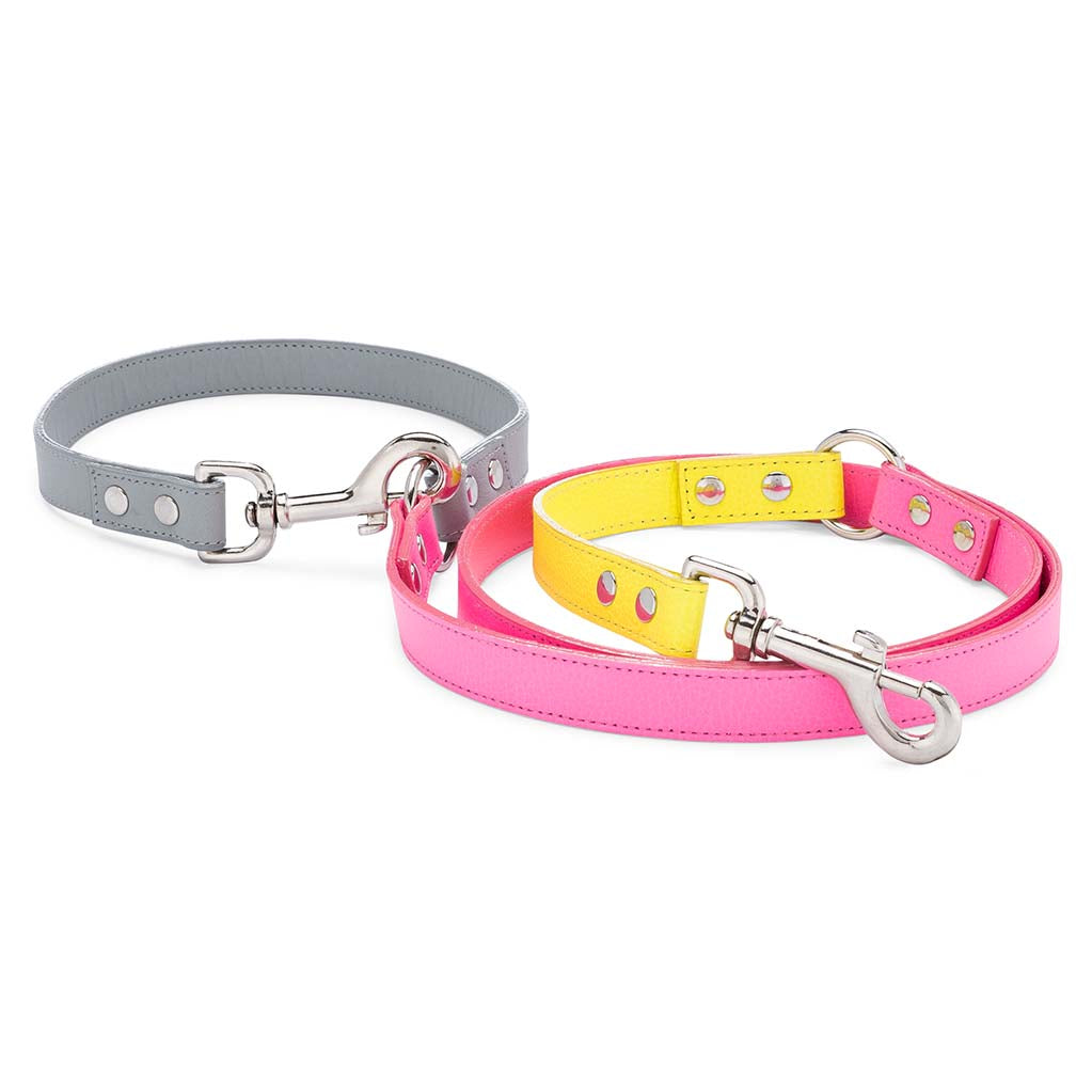 Neon Pink Colorblock Leather Adjustable Leash
