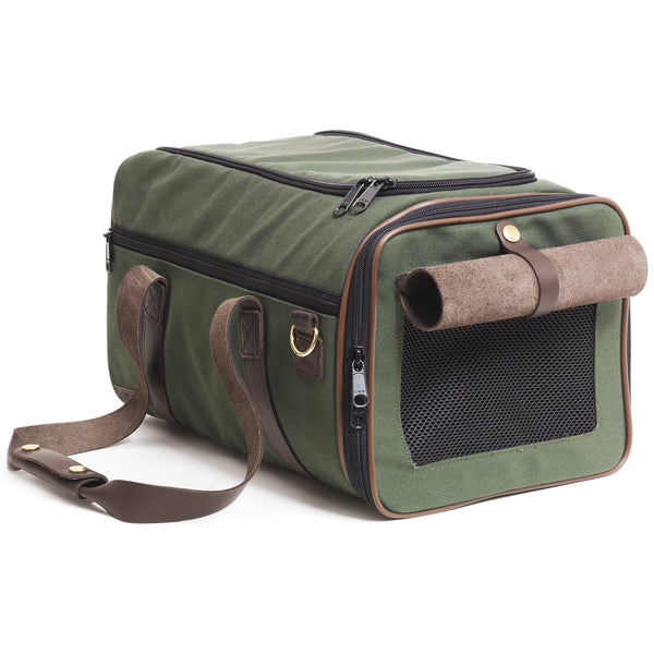 Canvas Duffle Carrier Olive & Chocolate Brown