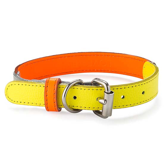 Neon Orange Leather Collar