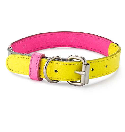 Adjustable Neon Leather Collar in Pink