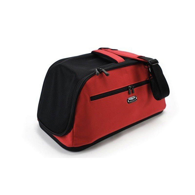 fully enclosed red nylon airline pet carrier with padded shoulder strap for small dogs
