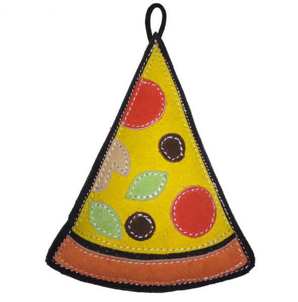 durable pizza suede dog toy with squeaker for power chewers