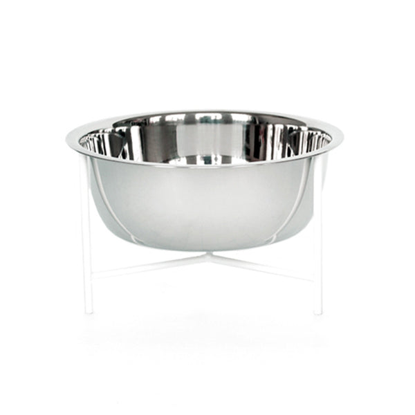 individual modern designer pet food stand in white with stainless steel bowl and rubber feet
