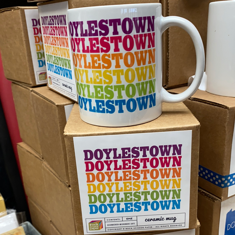 Doylestown rainbow ceramic mug with gift box