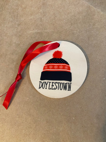 Knit hat Doylestown wood ornament