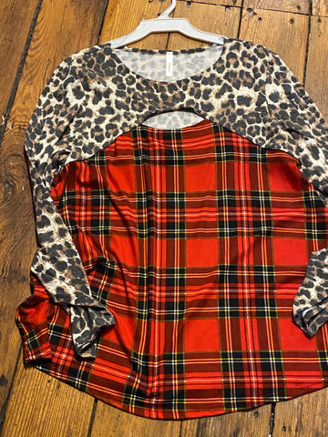Ladies leopard plaid tunic
