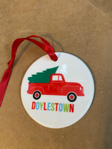 Truck Doylestown ceramic ornament
