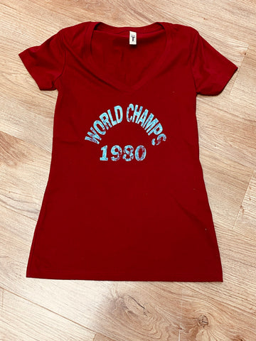 1980 world Champs Ladies V-Neck