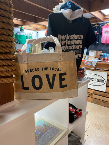 Spread local love large jute canvas tote