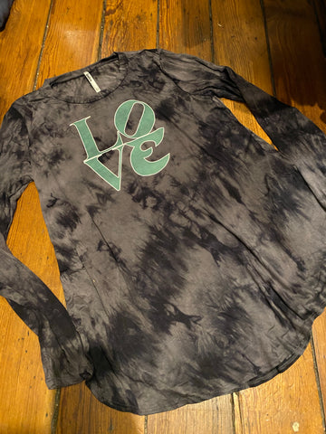 Ladies Eagles Love Tie dye long sleeve