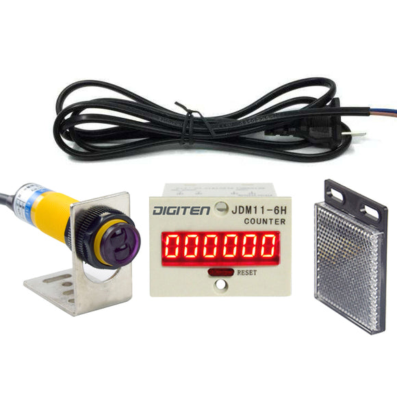 DIGITEN 0-999999 Digital LED Counter +PhotoElectric Switch Sensor +Reflector Automatic Conveyor Belting 100-220VAC