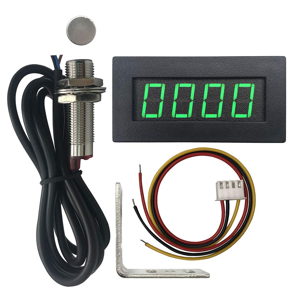 Red 4 Digital LED Tachometer RPM Speed Meter+Hall Proximity Switch ...