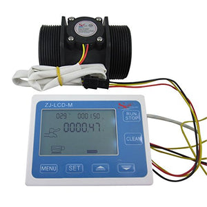 "DIGITEN G2"" 2inch Flow Water Sensor Meter+LCD Display Quantitative Control 10-200L/min"