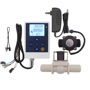 "DIGITEN Water Flow Control LCD Display Controller+G3/4"" Hall Sensor Flow Meter Flowmeter Counter+G3/4"" Solenoid Valve Normally Closed N/C+12V Power"
