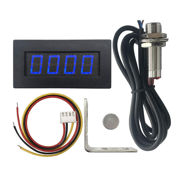 DIGITEN 4 Digital LED Tachometer RPM Speed Meter+Hall Proximity Switch Sensor NPN+Sensor Mounting Holder (Blue)