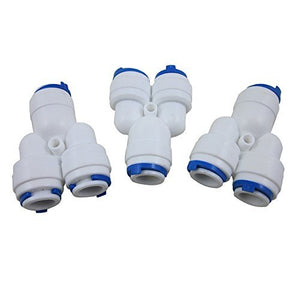 "DIGITEN 3/8""x3/8""x3/8"" Y Splitter Tube Aquarium Quick Connect Push Fit for RO (Pack of 3)"