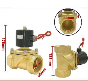 "2"" Inch 12V DC Brass Electric Solenoid Valve, NC Normally Closed"