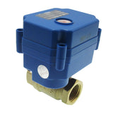 "1/2"" Brass Motorized Ball Valve, DC9-24V and 2 Wire Auto Return Setup, Normally Closed"