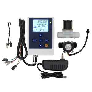 "SENSTREE G1/2"" Liquid Display Water Flow Quantitative Controller Meter+Solenoid Valve"