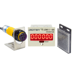 DIGITEN 0-999999 24-36VDC Digital LED Counter +PhotoElectric Switch Sensor +Reflector Automatic Conveyor Belting