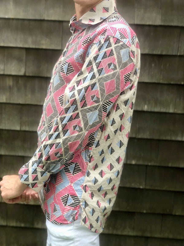 diamond border pink LS