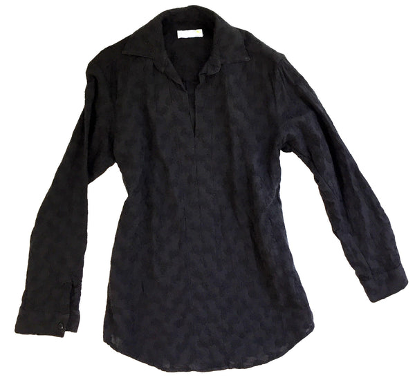 puffy black embroidered tunic
