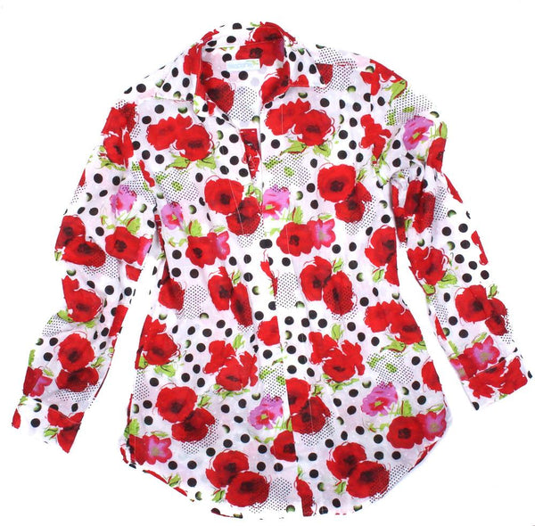 red polkaflowers tunic