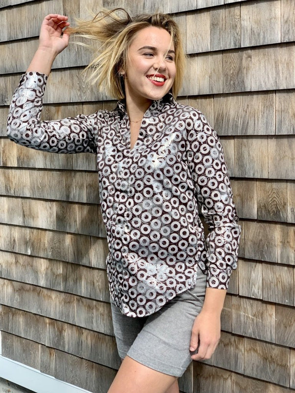chocolate donuts silver scribbles tunic