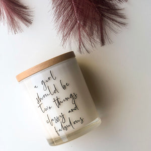 Quote Candle | A girl should be | size large 50 HR Burn Time