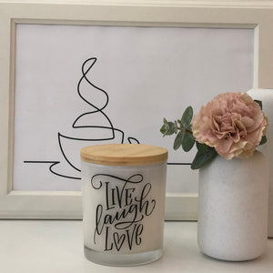 Quote Candle | Live Laugh Love | size large
