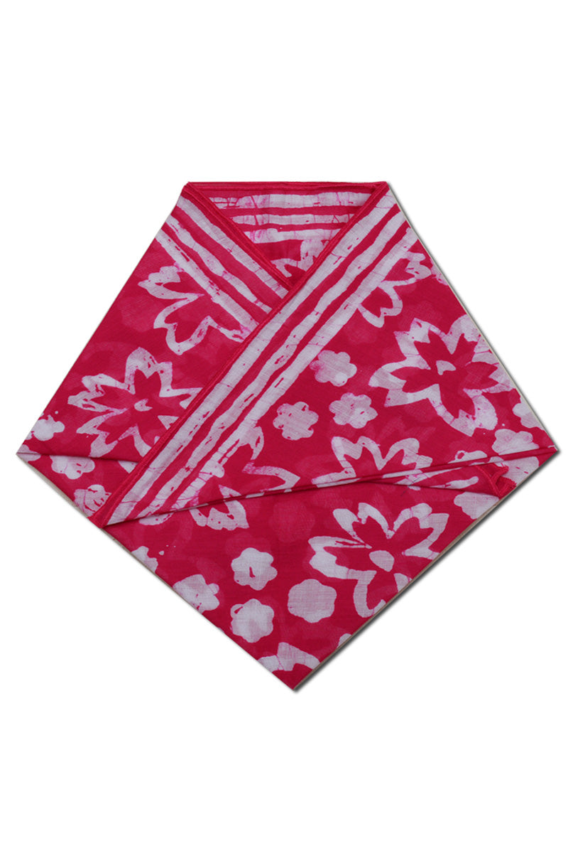 Pink colour cotton printed batik bandana