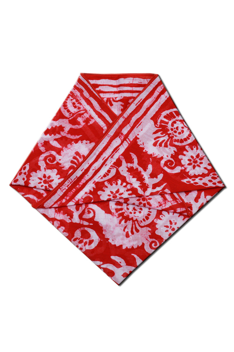 Cotton Bandana Red Batik Printed
